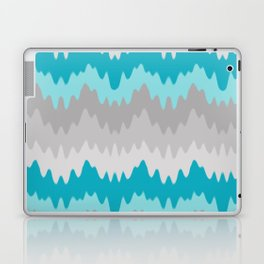 Teal Turquoise Blue Grey Gray Chevron Ombre Fade Zigzag Laptop & iPad Skin