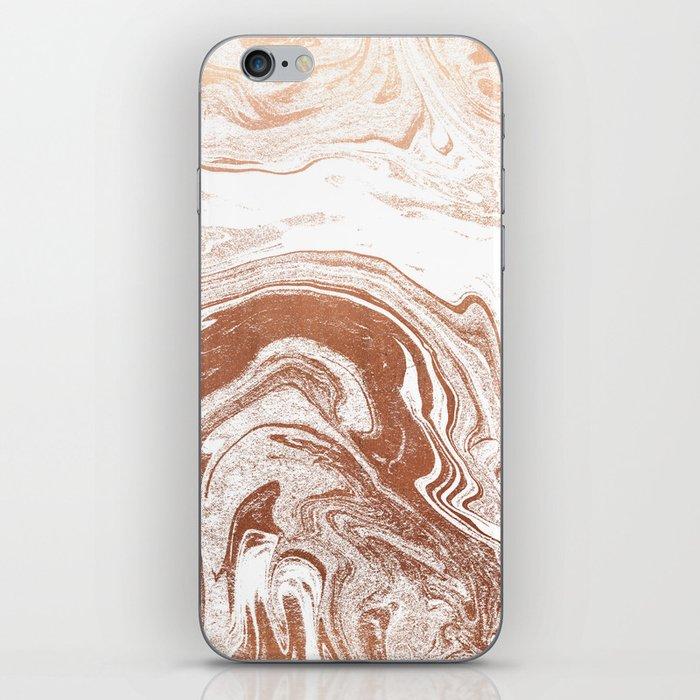 Marble copper metallic suminagashi spilled ink japanese marbling abstract ocean swirl iPhone Skin