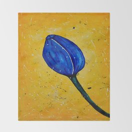 Blue Tulip Acrylic Abstract painting by Saribelle Throw Blanket