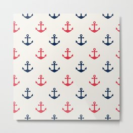 Blue Pink Sea Anchor Pattern Metal Print