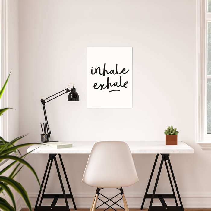 Inhale Exhale black and white contemporary minimalism typography ...