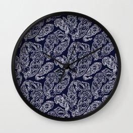 Cosmic Paisley Navy Blue Wall Clock