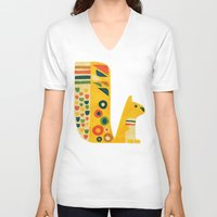 mid century V-neck T-shirts featuring Century Squirrel by Picomodi
