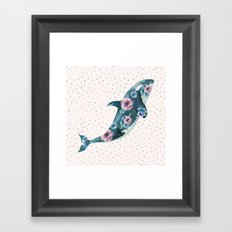 Whale Ocean Rose + Gold Polka Dot Framed Art Print