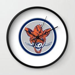 Wild Boar Razorback Head Circle Retro Wall Clock