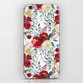Elegant burgundy pink teal gray watercolor holly leaves floral iPhone Skin