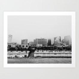 Back Side of the Bellagio // Las Vegas Strip City Landscape Cloudy Snow Day Foggy Raw Photograph Art Print