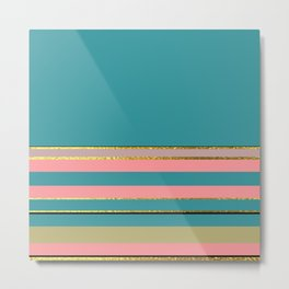Teal With Pink And Gold Metal Print