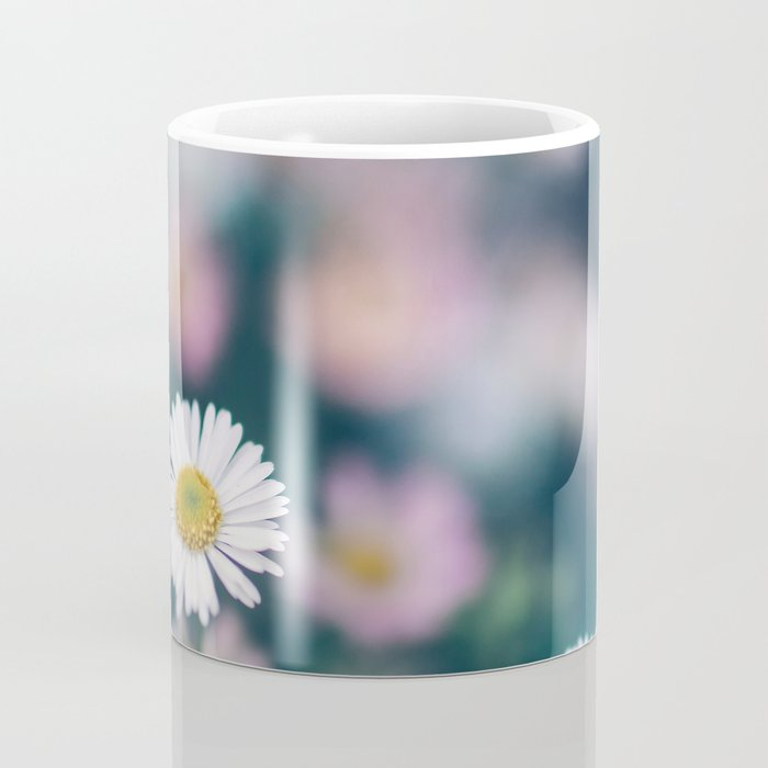 White Daisies With Pink Flower Accents Coffee Mug
