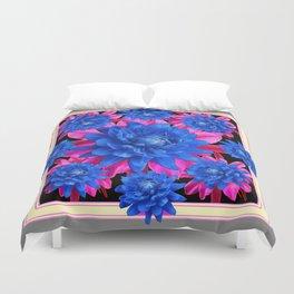 Decorative Blue-Purple Tropical Grey Floral Duvet Cover