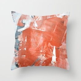 Interrupt [1]: a pretty minimal abstract acrylic piece in pink white and blue by Alyssa Hamilton Art Throw Pillow