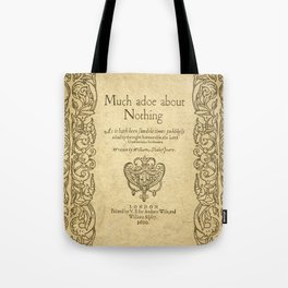 Shakespeare. Much adoe about nothing, 1600 Tote Bag