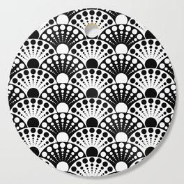 black and white art deco inspired fan pattern Cutting Board