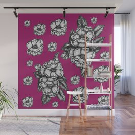 Berry Magnolia Floral Pattern Wall Mural