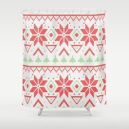 Knitted Christmas retro pattern Shower Curtain