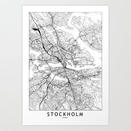 Stockholm White Map Art Print