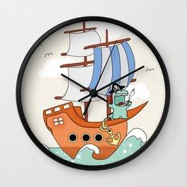 Dinosaur on a ship Wall Clock