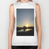 farm Biker Tanks featuring Farm Sunset by I AmErika