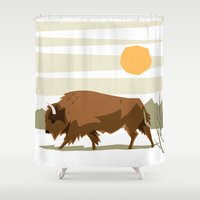 bison Shower Curtains featuring Bison by Emre Özbay