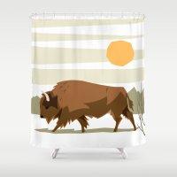 bison Shower Curtains featuring Bison by Emre Özbay