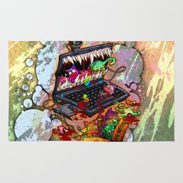 A Laptop Eating Multicolored Kittens Rug