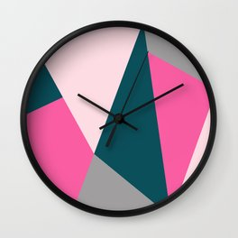 Pink & green geometric design Wall Clock