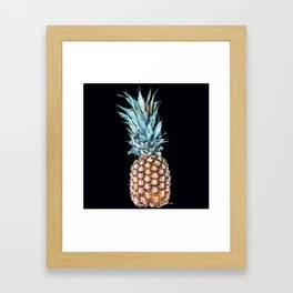 Pineapple On A Black Background #decor #society6 Framed Art Print
