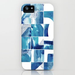 Blue Watercolor Typographical Fragments Cheater Quilt iPhone Case