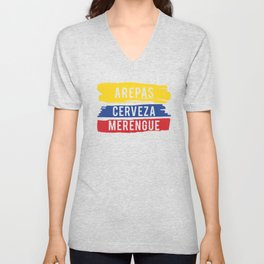 Arepas Cerveza Merengue print Gift with a Colombian flag Unisex V-Neck