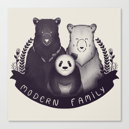 Modern Bear Family Canvas Print