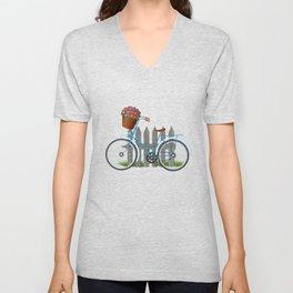 Vintage bicycle with basket full of violets flowers Unisex V-Neck
