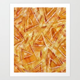 Orange Pastel Triangles Abstract Art Print