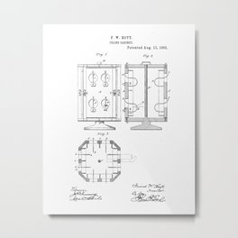 Filing Cabinet Vintage Patent Hand Drawing Metal Print