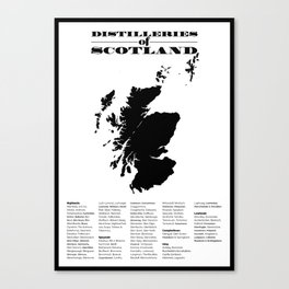Distilleries of Scotland Canvas Print