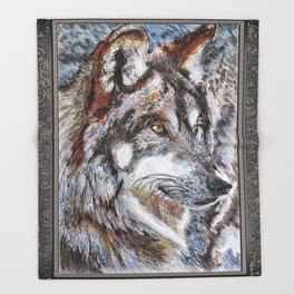 Gray Wolf Watches and Waits Throw Blanket