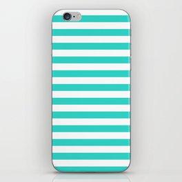 Narrow Horizontal Stripes - White and Turquoise iPhone Skin