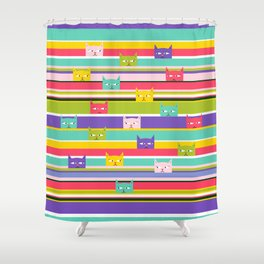 Colorful Peeking Cats on stripes Shower Curtain