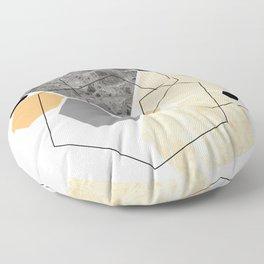 Orange Hexagon, Scandinavian Art Floor Pillow