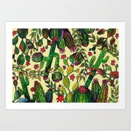 Yellow Cactus Pattern Art Print
