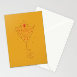 Key to Tejas - Mustard Yellow & Red Stationery Cards