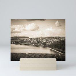 Cityscape Möhne From Reservoir Barrage Wall sepia Mini Art Print
