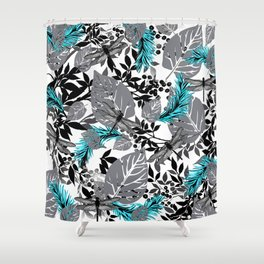 PALM LEAF DRAGONFLY BLUE FERN TOILE Shower Curtain