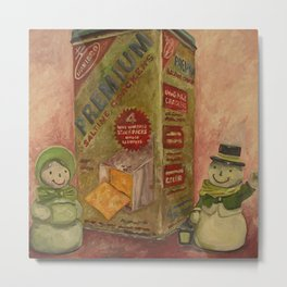 Snowmen and Crackers Metal Print