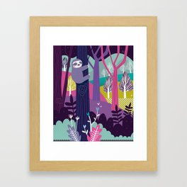 Sloth in the woods Framed Art Print
