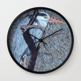 Grey Heron (Ardea Cinerea) Colored Pecncils Artwork Wall Clock