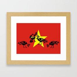 Vietnam Flag, Roosters Sparring Framed Art Print