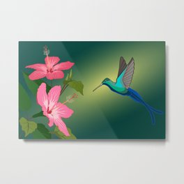 Colorful Hummingbird on Hibiscus Flower Metal Print