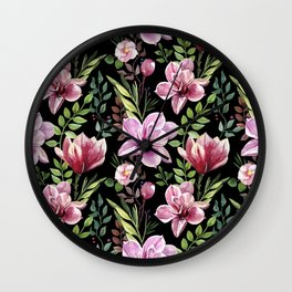 Watercolor hand-painted floral spring seamless pattern Wall Clock