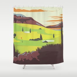 'For Golf' Northern Ireland Travel poster Shower Curtain