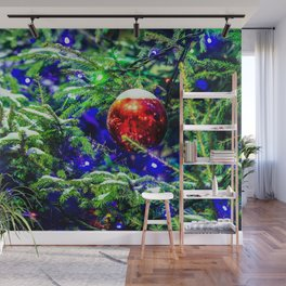 Red Christmas Ball, Green Spruce Tree Wall Mural